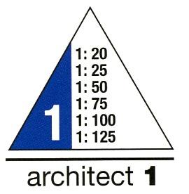 Maßangaben für Dreikantmaßstab Archiktekt 1
